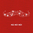 Christmas Card With Santa Claus Moustaches And Hohoho Phrase On Red Wool Knitted Background