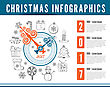 Christmas Clock. Vector Infographics With Drawing Background