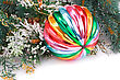 Christmas Colorful Ball, Fir-tree Branch On White Background