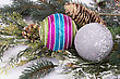 Christmas Colorful Balls, Cones, Fir-tree Branch On Gray Background