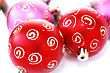 Christmas Colorful Balls.Focus On Left Red Ball