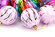 Christmas Colorful Balls On White Background stock image