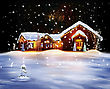 Christmas Decorated House With Lights And Firework stock photography