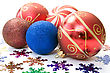 New Christmas Decoration. Baubles And Color Snowflakes Over White. stock photo