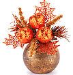 Christmas Decoration In Brown Vase Isolated On White Background stock photography