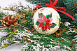 Christmas Decoration With Colorful Ball And Fir-tree Branch