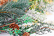 Christmas Decoration With Fir-tree Branch And Cones