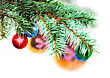 Evergreen Christmas Decoration-glass Ball On Fir Branches.Isolated stock photography