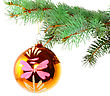 Christmas Decoration-glass Ball On Fir Branches.Isolated stock image