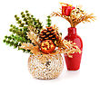 Christmas Decoration In Vases Isolated On White Background