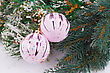 Christmas Decoration With Pink Balls And Fir-tree Branch stock photography