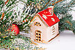 Christmas Decoration With Red Ball, Fir-tree Branch And Toy House