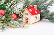 Christmas Decoration With Red Balls, Fir-tree Branch And Toy House