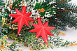 Christmas Decoration With Red Stars And Fir-tree Branch stock photography