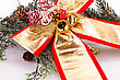 Christmas Decoration Ribbon And Bells With Fir Tree Branch