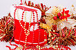 Christmas Decoration With Santa's Red Boot, Garland, Beads Closeup Picture
