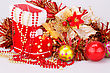 Christmas Decoration With Santa's Red Boot, Garland, Balls, Beads Closeup Picture stock photography