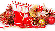 Christmas Decoration With Santa's Red Boot, Garland, Balls, Beads Isolated On White Background