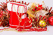 Christmas Decoration With Santa's Red Boot, Garland, Beads Closeup Picture stock image