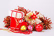 Christmas Decoration With Santa's Red Boot, Garland, Balls, Beads Isolated On Gray Background