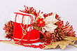 Christmas Decoration With Santa's Red Boot, Garland, Beads Isolated On Gray Background