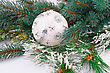 Christmas Decoration With White Ball And Fir-tree Branch