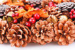 Christmas Decoration With Cones Closeup Picture
