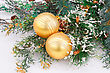 Christmas Decoration With Yellow Balls And Fir-tree Branch stock photography