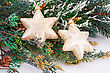 Christmas Decoration With Yellow Stars And Fir-tree Branch stock photography