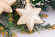 Christmas Decoration With Yellow Stars And Fir-tree Branch