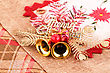 Christmas Decorationon Colorful Canvas Background