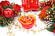 Christmas Decorations And Candle stock image