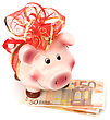 Christmas Deposit Concept. Piggy Bank With Festive Bow Isolated On White