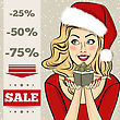 Christmas Discount Banner With Sexy Blonde Santa, Vector Format