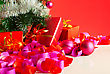 Christmas Gifts Over Red Background