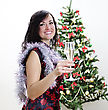 Christmas: Girl Congratulates With Glass Of Wine stock photo