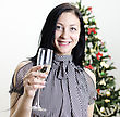 Christmas: Girl Congratulates With Glass Of Wine stock photography