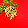 Christmas Golden Snowflake, Spruce Branches On A Background Of Red Silk