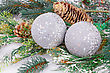 Christmas Gray Balls, Cones, Fir-tree Branch On Gray Background