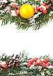 Christmas Green Framework With Snow And Holly Berry stock image