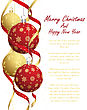 Christmas Greeting Card With Balls And Snowflakes On It