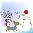 Christmas Greeting Card With Funny Snowman And Happy Dog