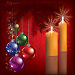 Christmas Greeting With Decoration And Orange Candles