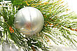 Christmas Grey Ball On Fir Tree Branch stock photo