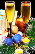 Christmas And New Year Decoration- Balls, Tinsel, Candel And Glasses Of Champagne .On Black Background stock photography