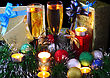 Christmas And New Year Decoration- Balls, Tinsel, Candel And Glasses Of Champagne .On Black Background