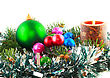 Christmas And New Year Decoration- Balls, Tinsel, Candels. Isolated On The White Background