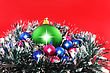 Yule Christmas And And New Year Decoration- Balls, Tinsel .On The Red Background stock photography