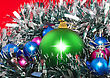Christmas And And New Year Decoration- Balls, Tinsel .On The Red Background stock photo