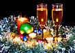 Gas Christmas And New Year Decoration- Balls, Tinsel, Candel And Glasses Of Champagne .On Black Background stock photo
